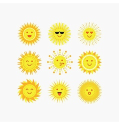 Set of yellow sun emoji and faces icons vector