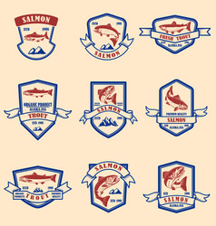 set salmon and trout emblems design element vector image
