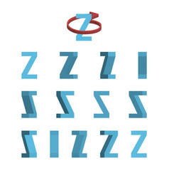 sheet of sprites rotation of cartoon 3d letter z vector image