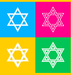 Shield magen david star symbol of israel four vector