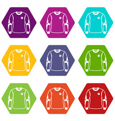 shirt goalkeeper icons set 9 vector image