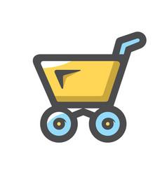 Shopping yellow cart icon cartoon vector