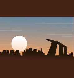 silhouette of singapore scenery at sunset vector image