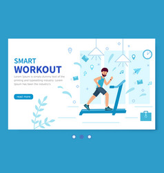 smart workout template landing page a man vector image