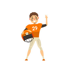 smiling american football player wearing uniform vector image