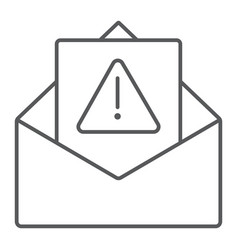 spam warning thin line icon letter and email vector image
