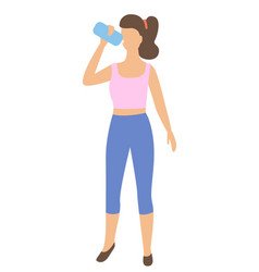 Sportive woman drinking water from bottle isolated vector