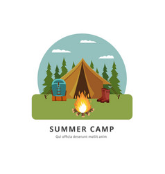 summer camp - travel adventure site with yellow vector image