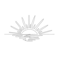 Sunset on the seaone line sketch vector