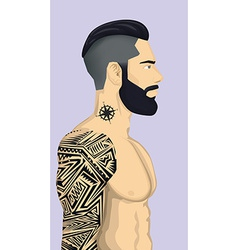 Trendy Hipster Men with abstract tattoo vector image