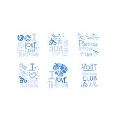 Triathlon club logo set i love sport retro hand vector