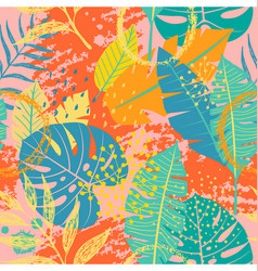 Tropical leaves and textures seamless pattern vector