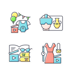 types video rgb color icons set vector image