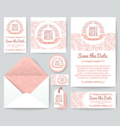 vintage wedding invitation greeting cards vector image