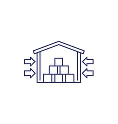 warehouse storage facility line icon on white vector image