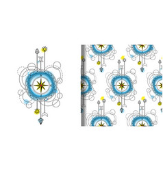 Watercolor compass print and seamless vector