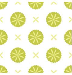 white seamless pattern with green floral elements vector image