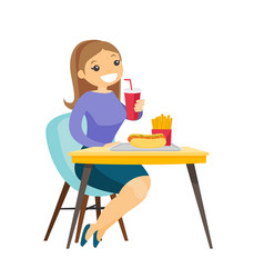Young caucasian white woman eating fast food vector