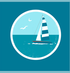 badge with yacht and birds vector image