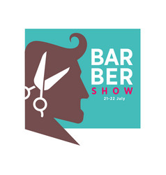 Barber shop logo or icon of man head and vector