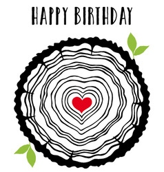 Birthday card with heart tree rings vector image vector image
