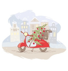Santa Claus scooter vector image