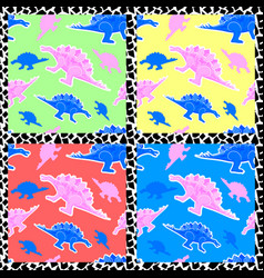 set memphis patterns with dinosaurs 80s 90s vector image