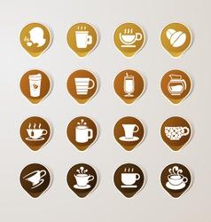 Sticker Label coffee set vector image