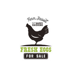 Farm fresh eggs poster vintage rustic emblem with vector