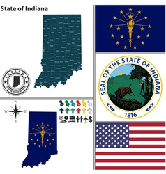 Map of Indiana with seal vector image