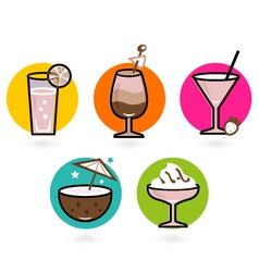 Retro drink Icons vector image vector image