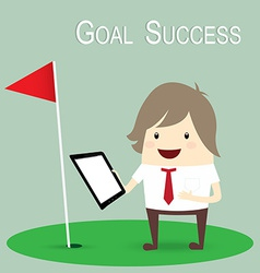 businessman is happy strategy marketing goal vector image vector image
