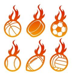 Fire Sport Balls Logo vector image