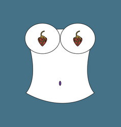 flat icon design collection boobs and strawberry vector image vector image