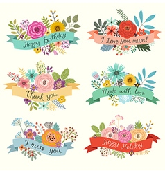 Floral set with ribbons vector image vector image