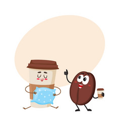 Funny coffee bean and sleepy paper cup characters vector