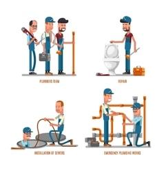 Plumbing work Plumbers and repairs vector image