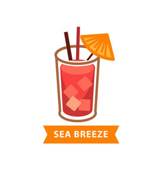popular cocktail sea breeze with ice cubes and vector image