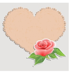 Vintage greeting card Doily in the form of heart vector image