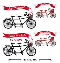 wedding tandem bicycles set vector image