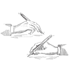 Writing hand of businessman vector image