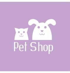 Cat and dog sign for pet shop logo vector image vector image