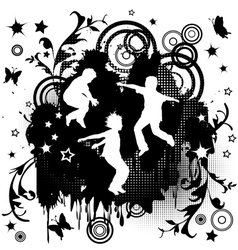 Children jumping over grunge background vector image vector image