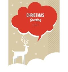 christmas greeting card with white Christmas deer vector image