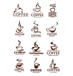 coffee cup icons for coffeeshop and cafe design vector image vector image