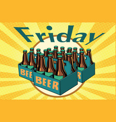 Friday and a lot of beer vector