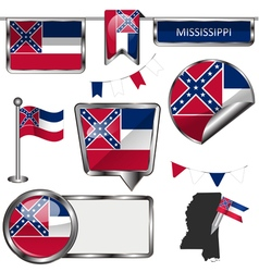 Glossy icons with Mississippian flag vector image vector image