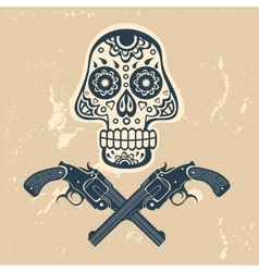 Hand drawn skull with guns on a grungy background vector image vector image