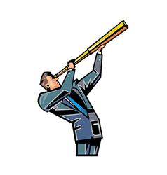 man holding telescope vector image