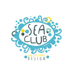 sea club logo design with hand drawn lettering in vector image